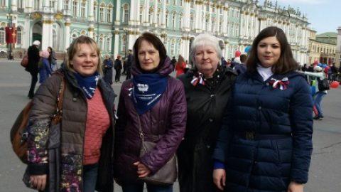 1 мая директор и педагоги школы приняли участие в торжественной демонстрации