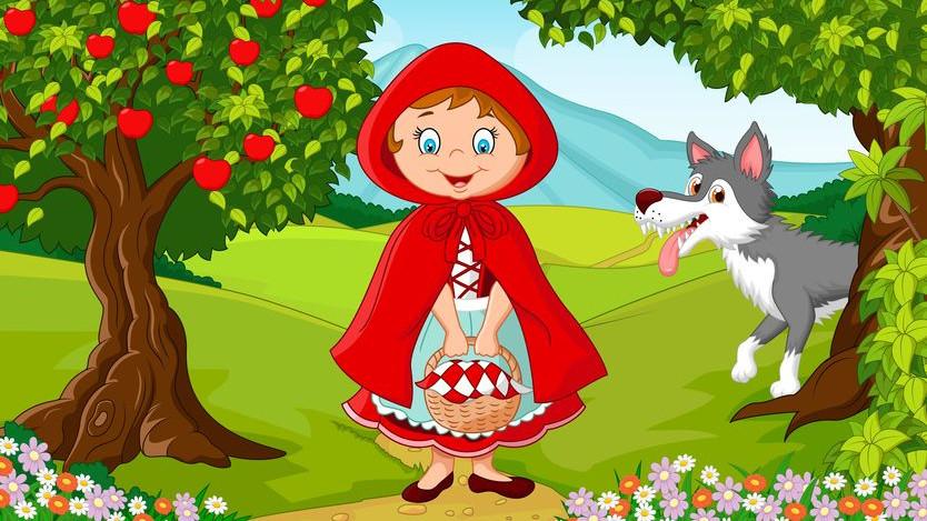 Картинки рисунки из сказки красная шапочка предметы пользовались